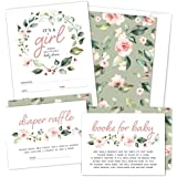 Set of 25 Floral Wreath Baby Shower Invitations, Diaper Raffle Tickets and Baby Shower Book Request Cards with Envelopes   It