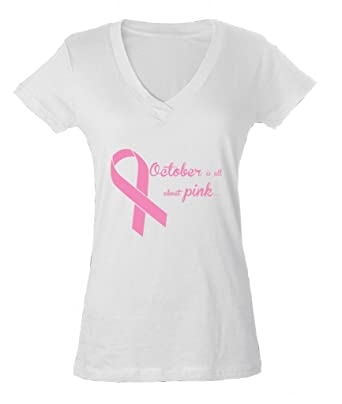 October Is All Pink Breast Cancer Month Ladies V-Neck T-shirt ...