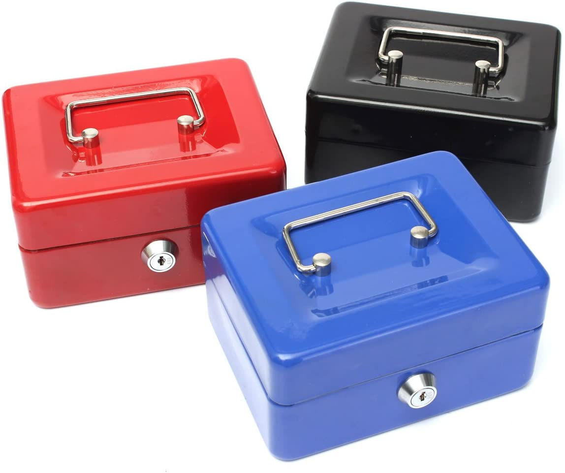 PQZATX Lockable Cash Coin Money Storage Safe Security Box Holder Suitcase With Lock Key 6 Compartment Tray Blue