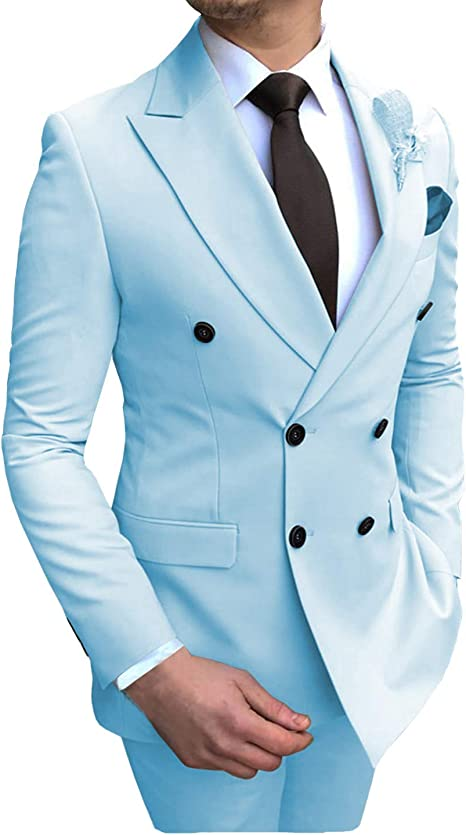 White Formal Party Suits Slim Double-breasted Suits 2 Pieces Peak Lapel For Men