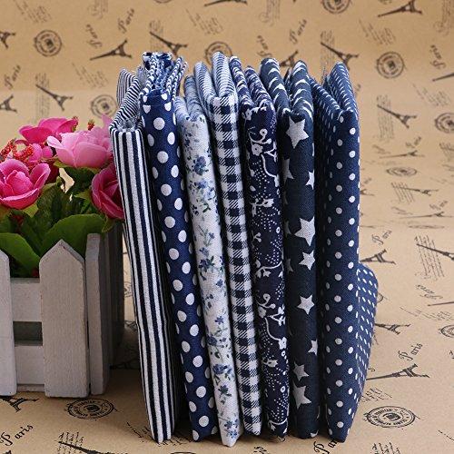 Dark Blue Fleece Fabric (MEXUD-Wholesale Series 7Pcs Pre-Cut Plain Cotton Quilt Cloths Fabrics for Sewing (Dark)
