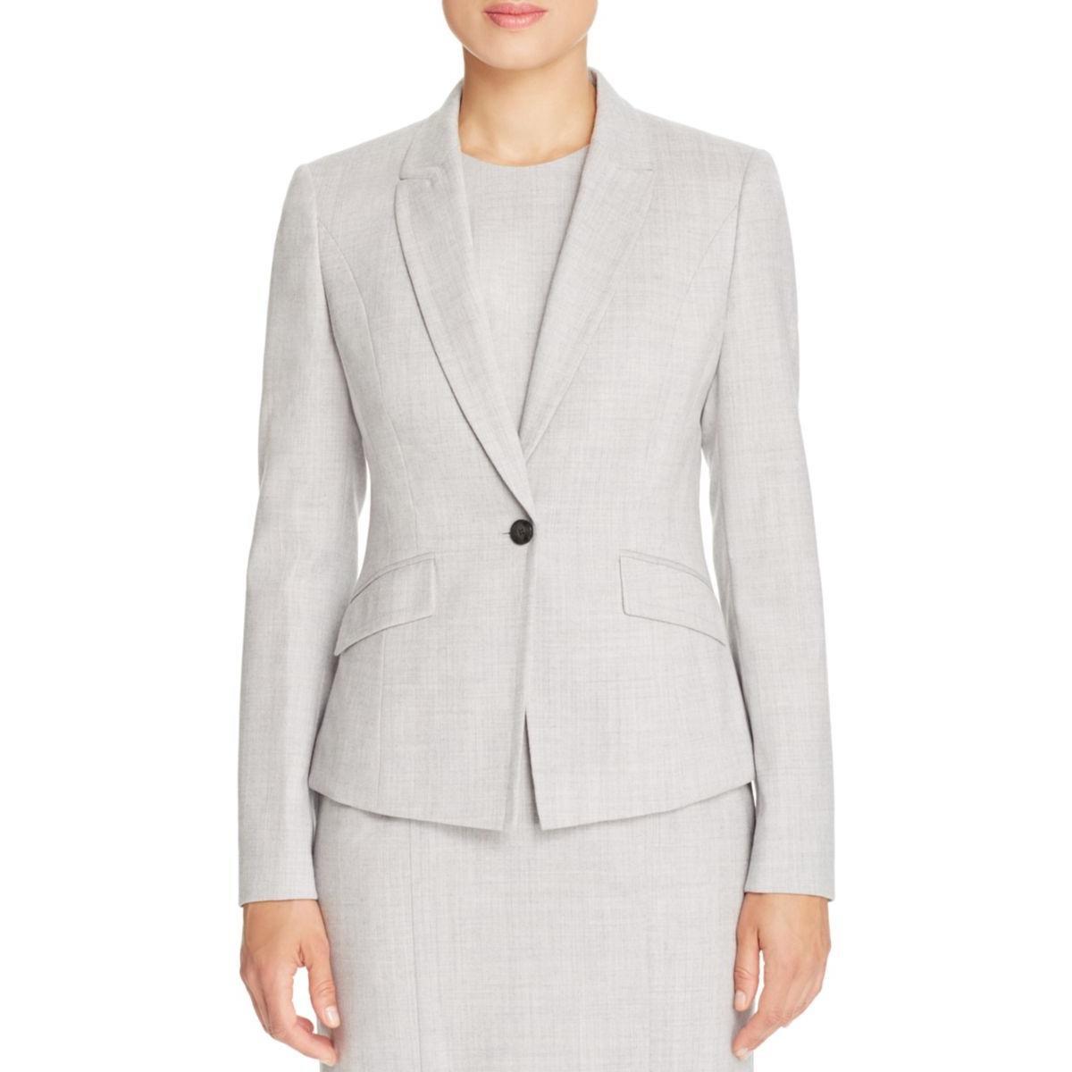 BOSS Hugo Boss Womens Notch Collar Wool One-Button Blazer Gray 4