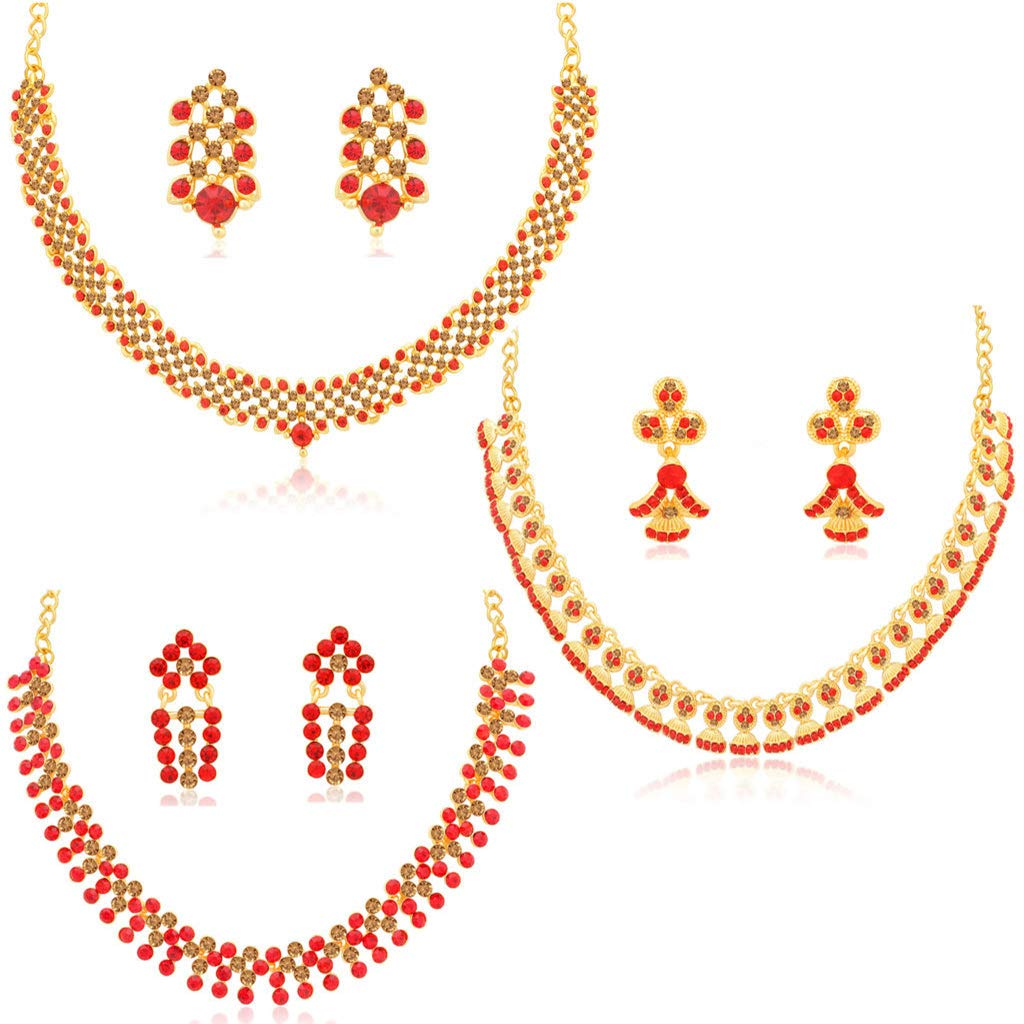 Sukkhi Wedding Jewellery Diamond Jewellery Set for Women (Red)