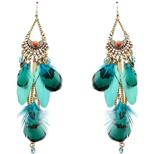Lovelychica Gold Plated Chain Bohemian Rhinestone Crystal Long Feather Tassel Pendants Drop Earrings
