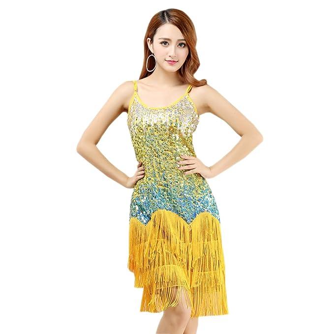 BOZEVON Mujer Moda Sin Mangas Vestido Danza Latino Traje Lentejuelas Borla Baile Tango Salsa Deportivo Salón