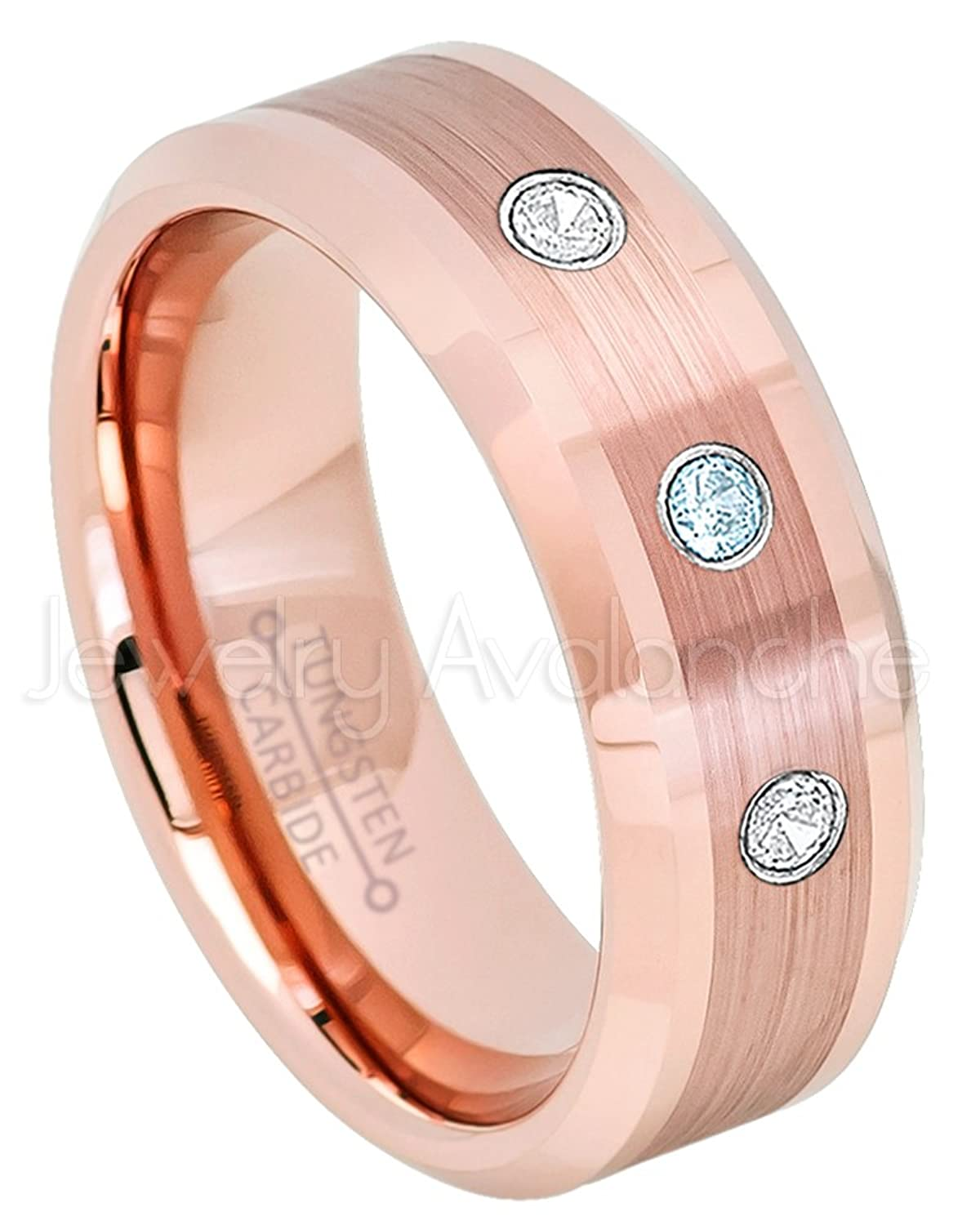 0.21ctw Topaz & Diamond 3-Stone Anniversary Band- November Birthstone Ring - 8mm Rose Gold Tungsten Ring, Comfort Fit Tungsten Carbide Ring Tungsten Wedding Ring