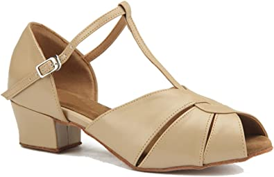 MGM-Joymod Womens Peep Toe Cut-Out Comfortable Cross Strap Samba Rumba Ballroom Latin Modern Dance Shoes Wedding Party Sandals