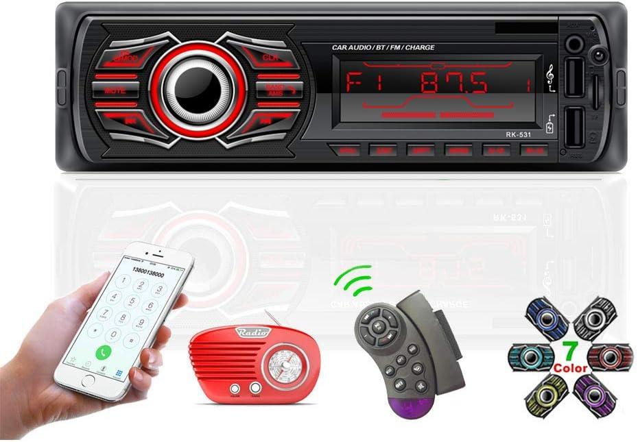 Radio Coche, TOYOUSONIC 12V Universal Autoradio 1 DIN Bluetooth Llamadas Manos Libres Car Stereo Reproductor MP3 Radio FM Doble USB Carga Rapida/AUX/SD con Control Remoto del Volante
