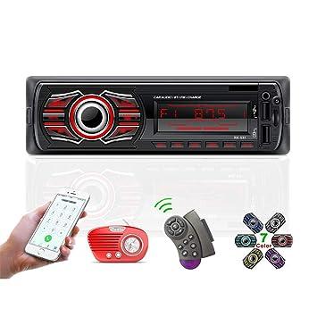 Radio Coche, TOYOUSONIC 12V Coche Universal Bluetooth Llamadas Manos Libres Car Stereo Reproductor MP3 Radio FM Doble USB Carga Rapida/AUX/SD/MMC con ...