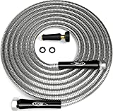 TITAN 100ft Garden Hose - Newest Metal Water Hose with Solid Aluminum Connectors, 360 Degree Brass Sprayer Nozzle - Lightweight, Kink-Free Strong and Durable Heavy Duty 304 Stainless Steel