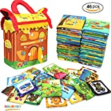 Baby's First Non-Toxic Soft Cloth Cards Set, GODR7OY Toys 46pcs Set Include Digital Calculation Jigsaw Puzzles Fruit Dessert Fast Food Fun Toy with Gift Dessert House Cloth Bag for Babies Toddler Kids
