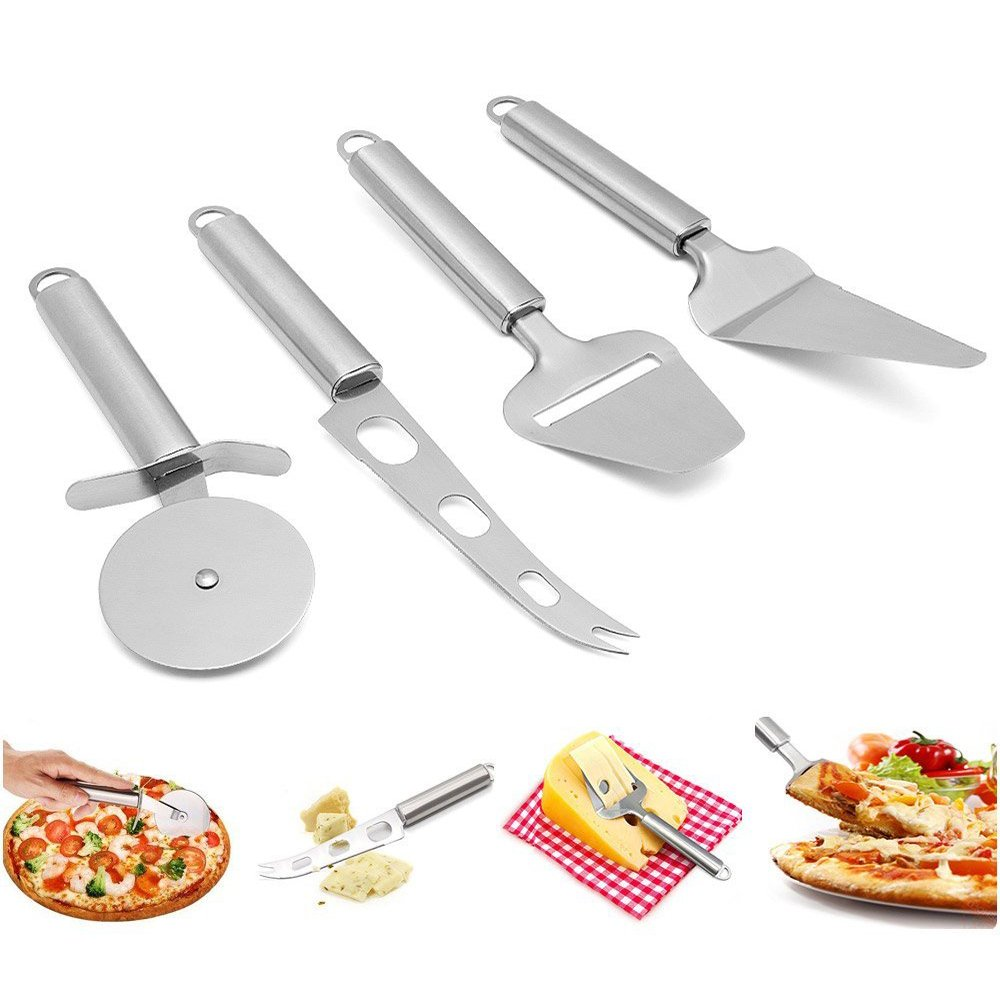 MZCH Stainless Steel Kitchen Utensil Tools and Gadgets Set - Cake cutter, Pizza Cutter Wheel, Cheese Slicer Cutter, Cheese Knife (Set of 4)