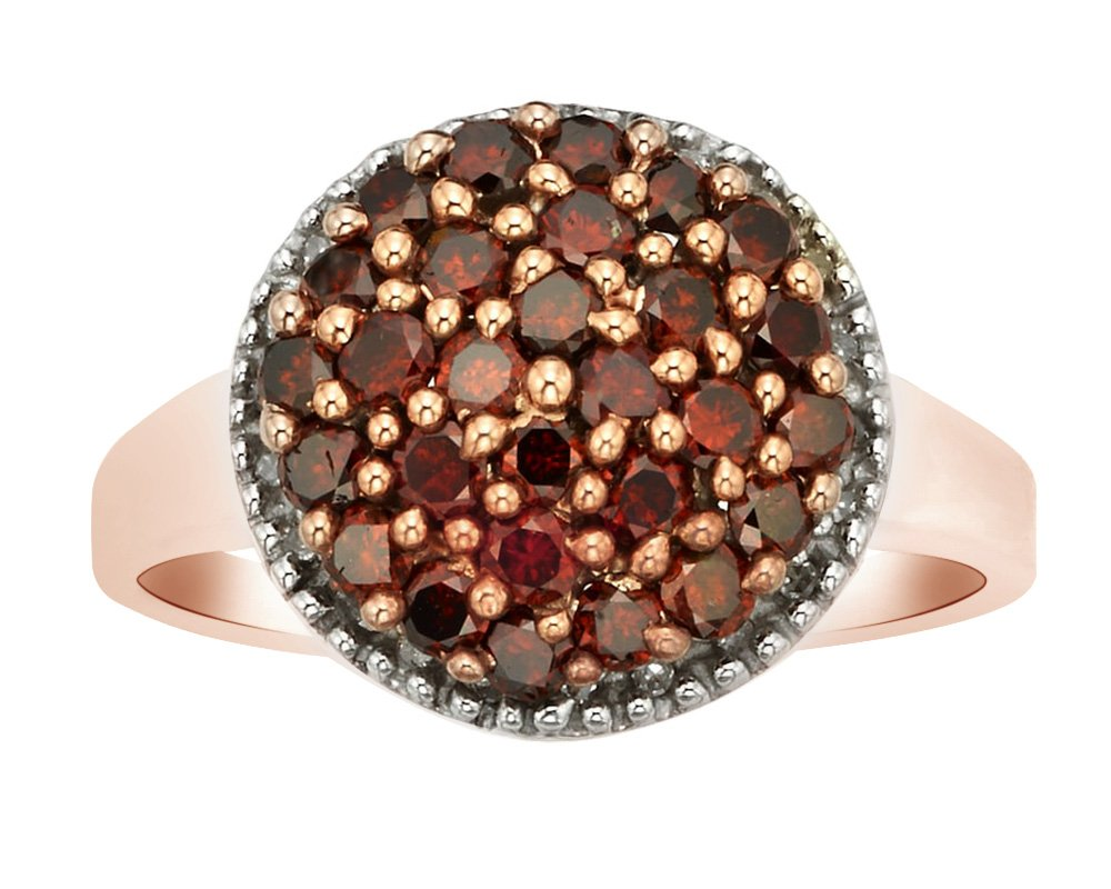 Round Shape Red Natural Diamond Cluster Promise Ring In 14K Rose Gold Over Sterling Silver (1 Cttw),Ring Size-7.5