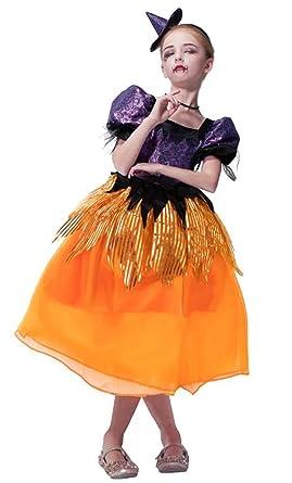 IKALI Disfraz de Bruja para niña, Vestido hechicera Vestido de Fiesta mágico Decoraciones de Fiesta para niños