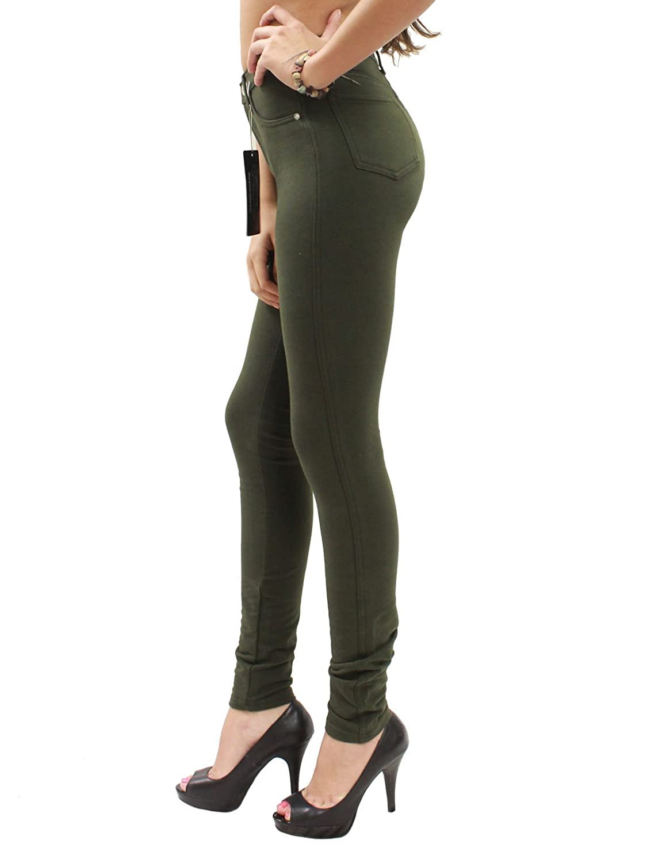 XX-Large, Military Olive JW Maxx Juniors Skinny Jeggings Stretch Moleton Jean Leggings Size S-3XL