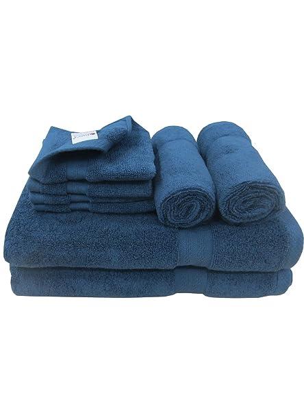Premium Lujo 8 piezas Juego de toallas (azul marino) – 100% algodón 500