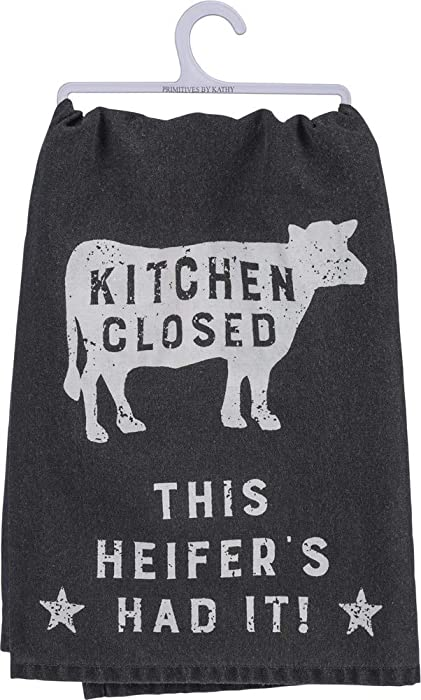 Primitives by Kathy Black and White Cotton Dish Towel, Kitchen Closed - This Heifer Has Had It