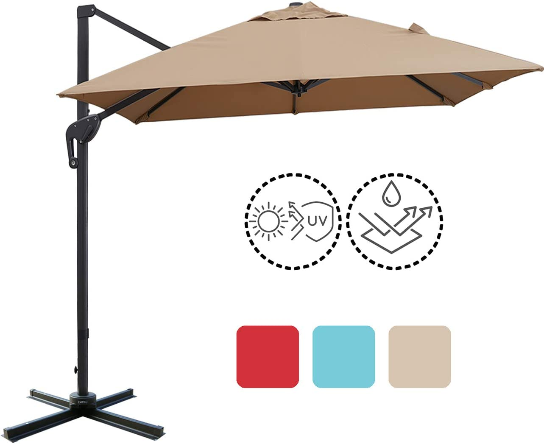 Sunnyglade 10x13ft Patio Offset Hanging Umbrella Rectangular Deluxe Outdoor Cantilever Umbrella with Easy Tilt