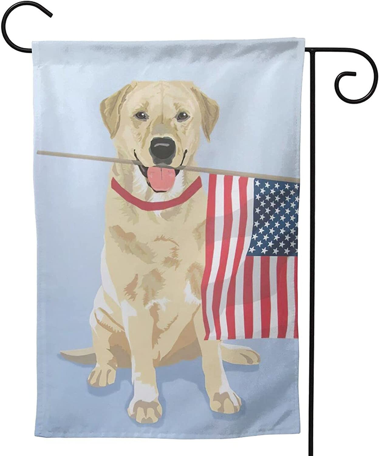 MINIOZE Art Labrador Lab Charm Yellow USA Party Themed Flag Welcome Outdoor Outside Decorations Ornament Picks Garden Yard Decor Double Sided 12.5X 18 Flag
