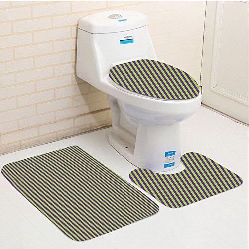 Keshia Dwete three-piece toilet seat pad customPop Art Vintage Retro 50s 60s Style Bold Stripes Rooms Wallpaper Image Royal Blue and Lime Green 610CnL0tkTL