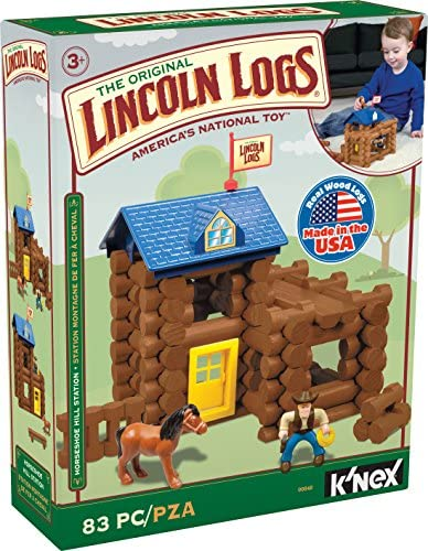 LINCOLN LOGS-Horseshoe Hill Station-83 Pieces-Real Wood Logs – Ages 3+ – Best Retro Building Gift Set for Boys/Girls – Creative Construction Engineering – Top Blocks Game Kit – Preschool Education Toy
