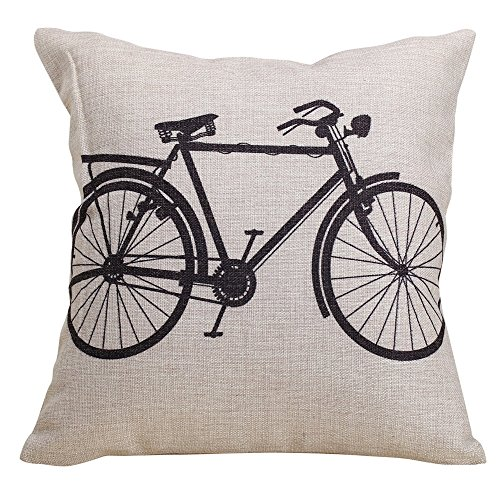 Vanki Decorative 18 x 18 Inch Linen Cloth Pillow Cover Cushion Case, Bicycle