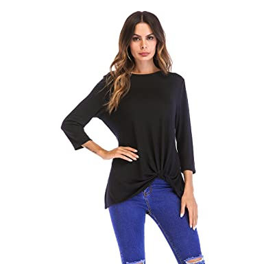 576a03ec2e6 OneWorld Women s 3 4 Sleeve Top with Twisted Knit Front Solid Basic T Shirts  Top