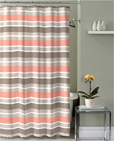 Brown Taupe Coral White Fabric Shower Curtain Striped Design With Hooks