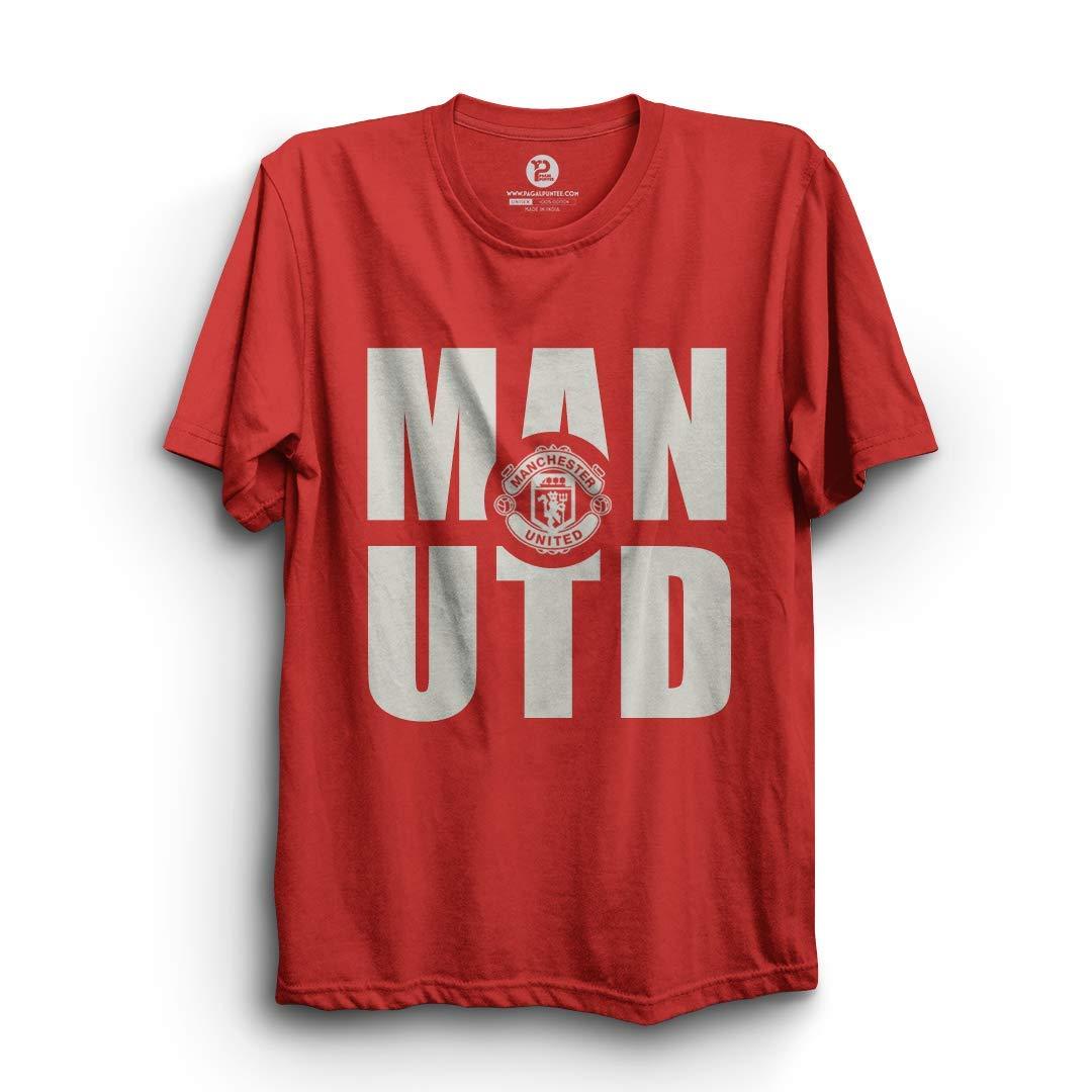 6bdf2c16 PAGALPUNTEE Football T-Shirt   Man UTD Red Half Sleeve Cotton T-Shirt:  Amazon.in: Clothing & Accessories