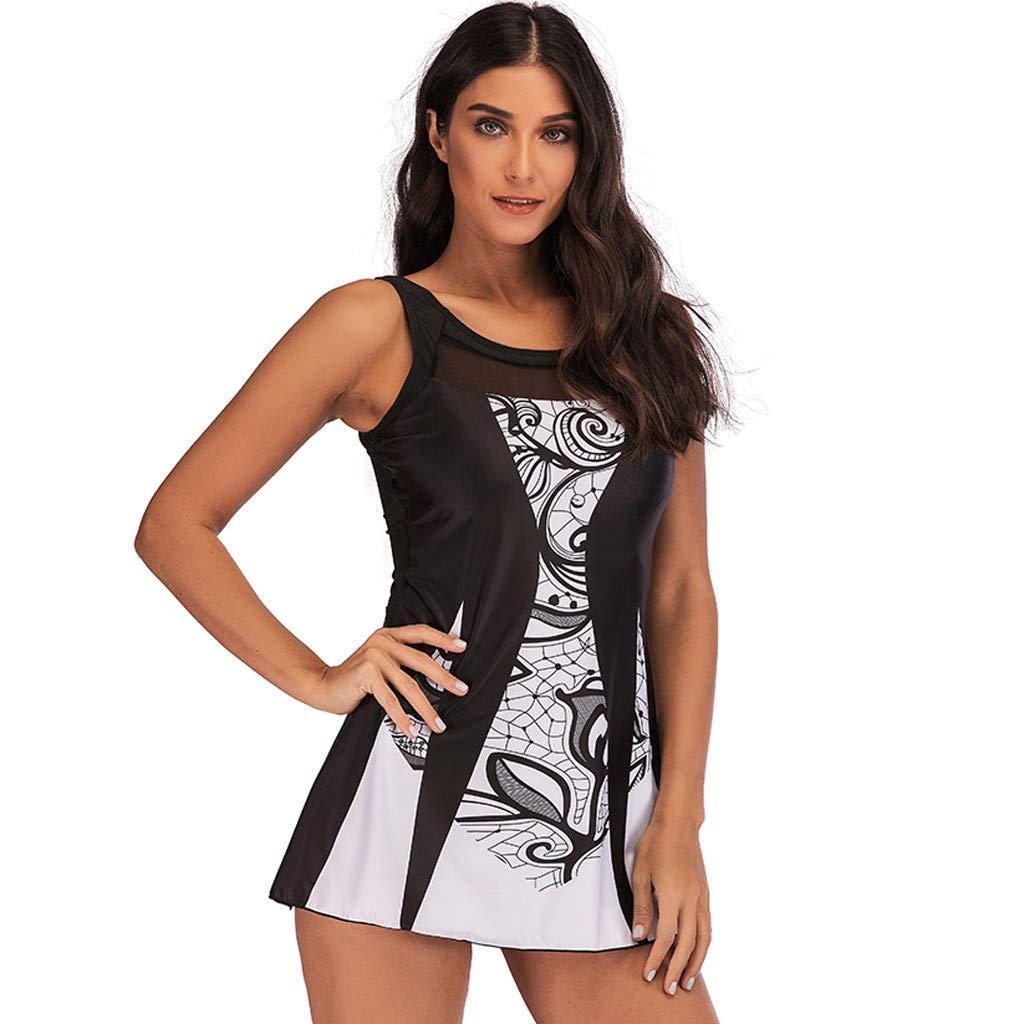 638d2ef1e17 Amazon.com: Snowfoller Women Tankini,Summer Black White Patchwork Swimsuit  Plus Size Print Swimdress Cheeky Bottom Bikini Bathing Suit: Clothing