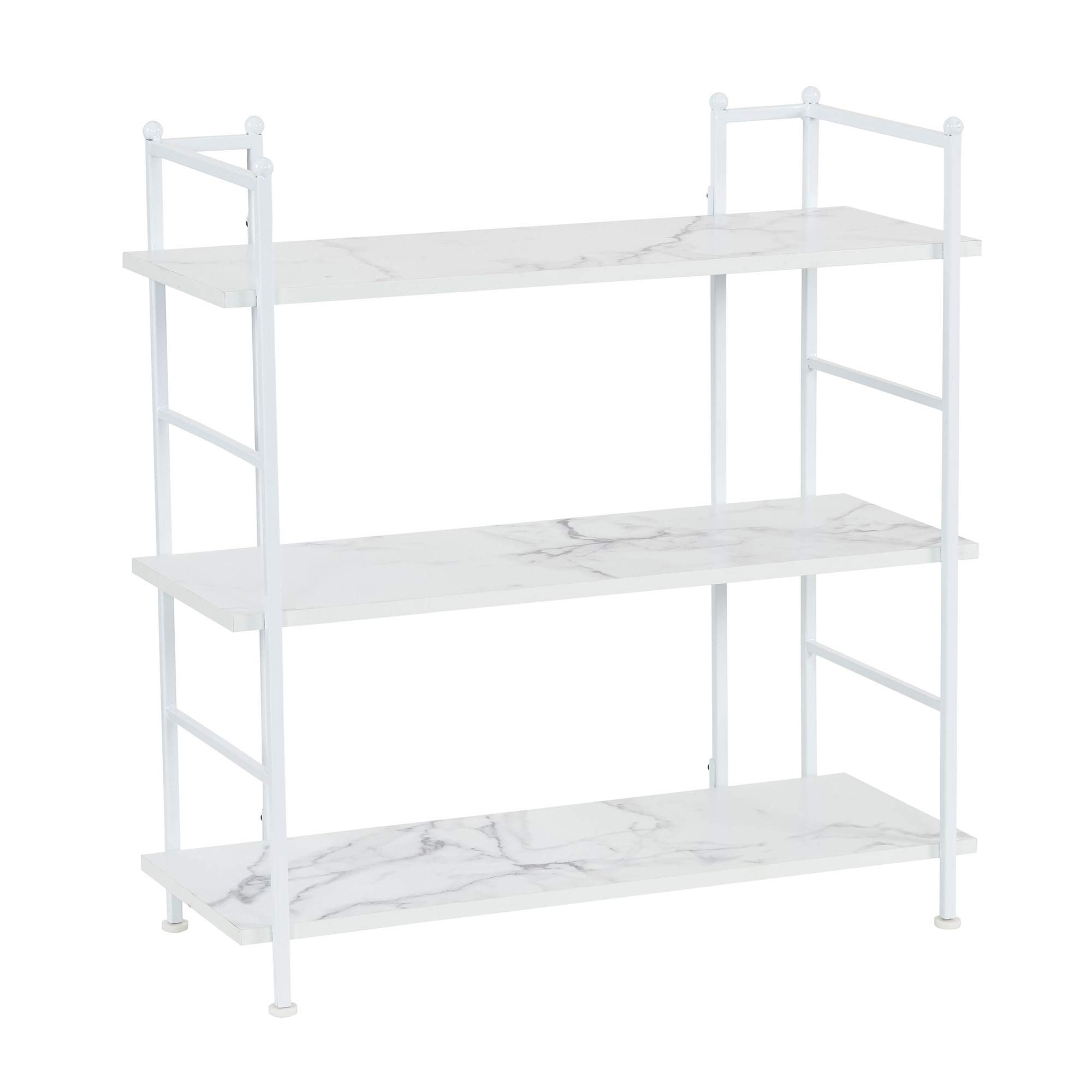 Household Essentials 8062-1 Wide Metal 3 Tier Shelf for Storage and Organization 3, Faux White Marble
