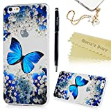iPhone 6 Plus Case, iPhone 6S Plus Case,Mavis's Diary Ultra Slim Flexible Soft TPU Rubber Case Butterfly Floral Painting Shockproof Protective Skin Shell with Dust Plug & Stylus - Blue Butterflies