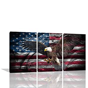 KALAWA 3 Panel Independence Day Artwork Eagle Canvas Red American Flag Wall Art White Red Painting Patriotic Concept USA Flag Print for Living Room Home Decor Stretched Framed(12''W x 16''H)