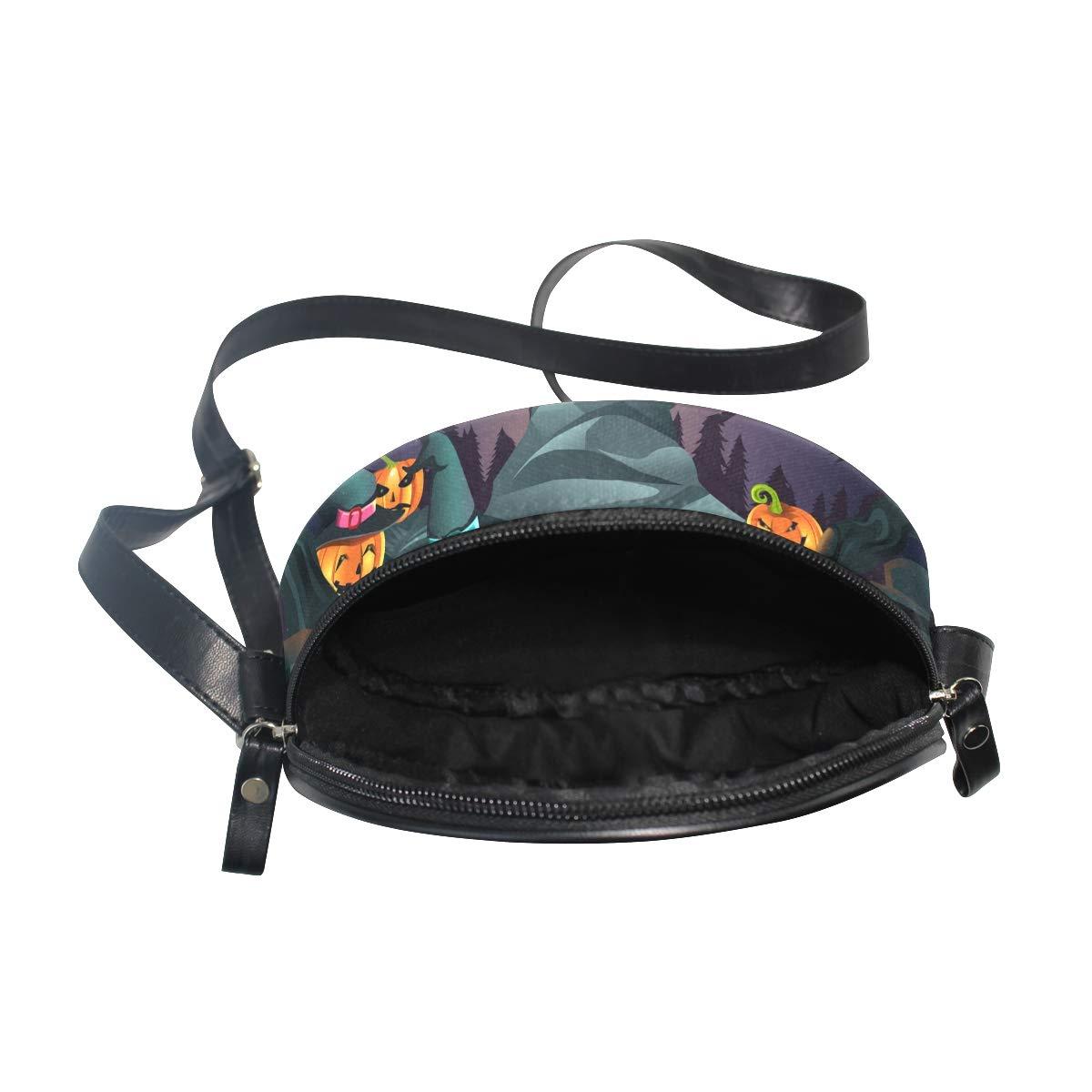 KEAKIA Halloween Pumpkins Background Round Crossbody Bag Shoulder Sling Bag Handbag Purse Satchel Shoulder Bag for Kids Women