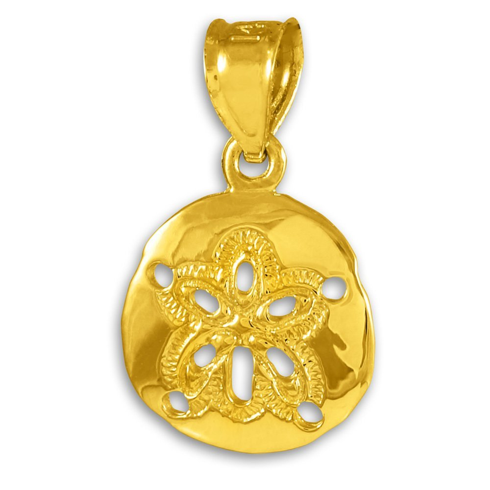 10k Gold Polished Sand Dollar Pendant