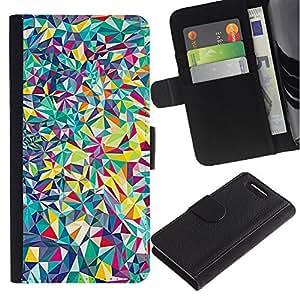 Sony Xperia Z1 Compact / Z1 Mini / D5503 Modelo colorido cuero carpeta tirón caso cubierta piel Holster Funda protección - Detailed Fine Shapes Shattered