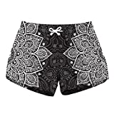 Fandim Fly Women Summer Sports Shorts Gym Workout Waistband Skinny Shorts Pants Mandala,White Bohemian Floral S