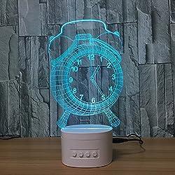 Clock Alarm Clock 3D Light Bluetooth Speaker Vision Small Table Lamp Creative led night light