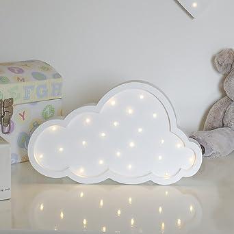 Wolke Holz Kinderzimmer, LEDs Warmweiß, 35cm, Mit Timer, Batteriebetrieben,  Von Festive