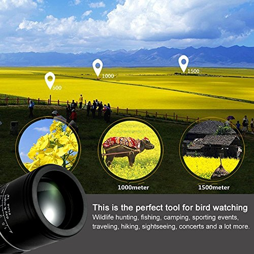 Review Monocular Telescope, 10X40 Dual Focus, Prism Film Optics,Waterproof, Monocular Scope for Birdwatching/ Hunting/ Camping/ Hiking / Golf/ Concert/ Surveillance
