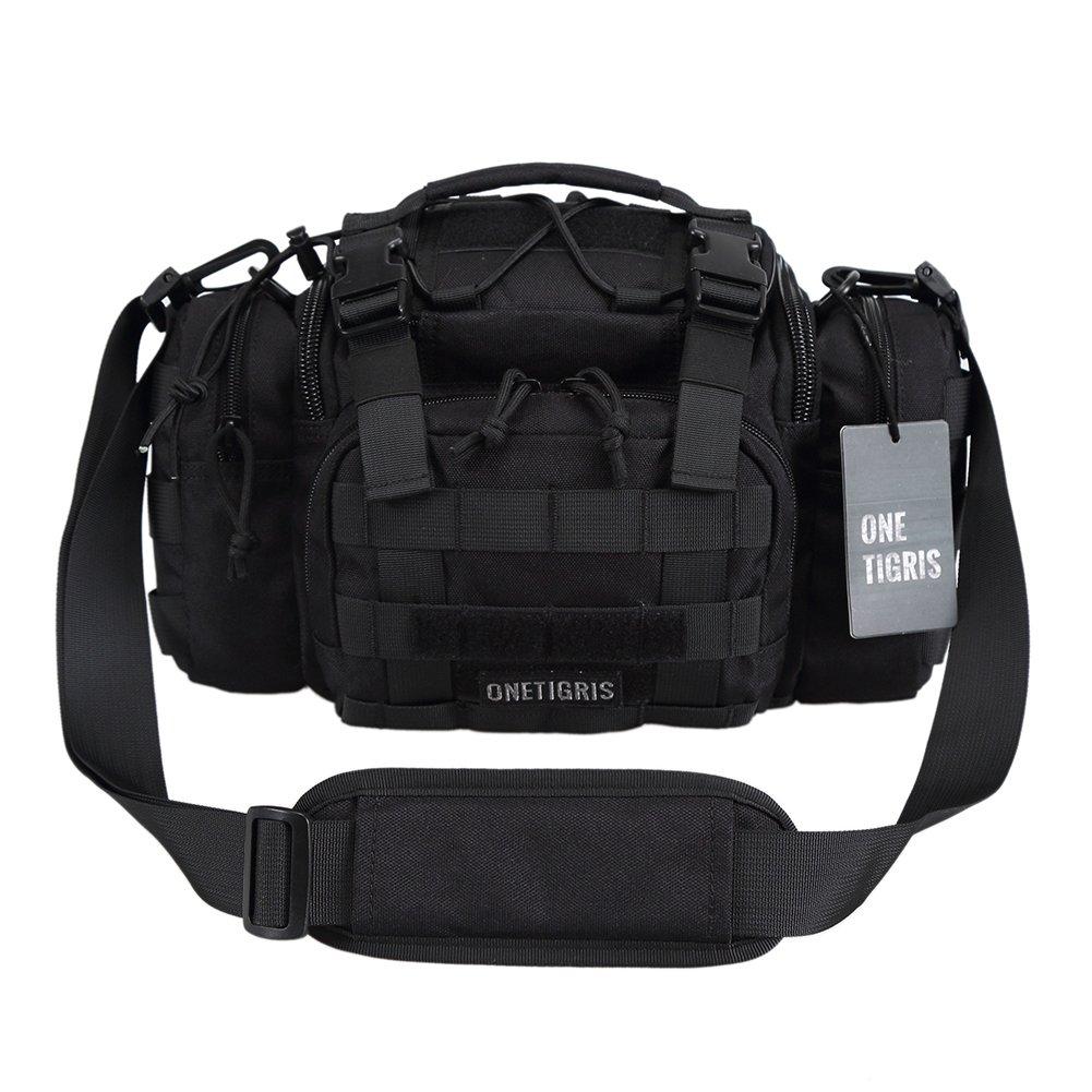 OneTigris Tactical Deployment Bag Compact Utility Carry Bag MOLLE Case Heavy Duty with Shoulder Strap (Black - 1000D Nylon) by OneTigris