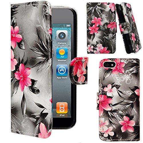 Mobile Case Mate Apple iPhone 6 Plus (5.5 inch) élégant PU Cuir Coque Case portefeuille Wallet Housse Cover Rose Argent Fleur With Credit Card Slots avec Stylet