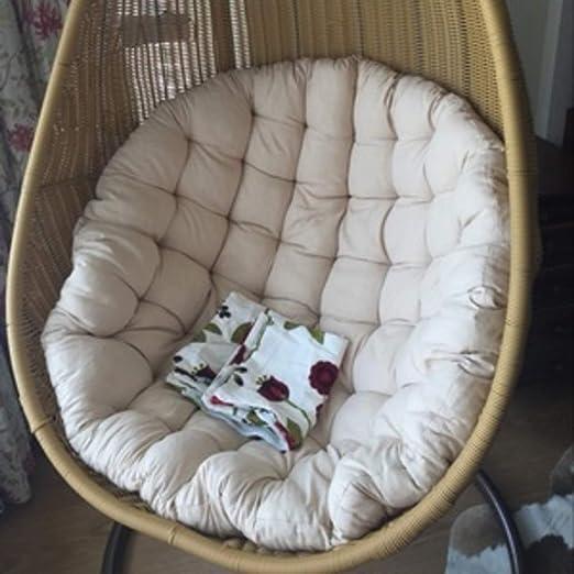 Amazon Com Zaipp Thicked Linen Chair Pad Comfortable Papasan Chair Cushion Hanging Egg Chair Cushion Versatile Tatami Floor Seat Cushioning Creamy White Diameter45cm 18inch Home Kitchen