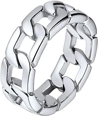 خاتم بحلقات دائرية متداخلة بتصميم سلاسل كوبيه من الستانلس ستيل للجنسين من يو7، مقاس 5 ملم، و7 ملم، ومقاس من 5 إلى 12، يصلك في عبوة هدية ملفوفة