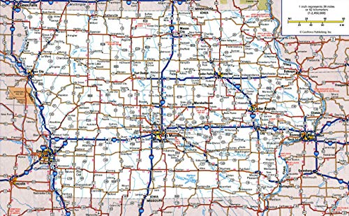 - Home Comforts Laminated Map - Large Detailed Roads and Highways map of Iowa State with All Cities and National Parks Poster 24 x 36