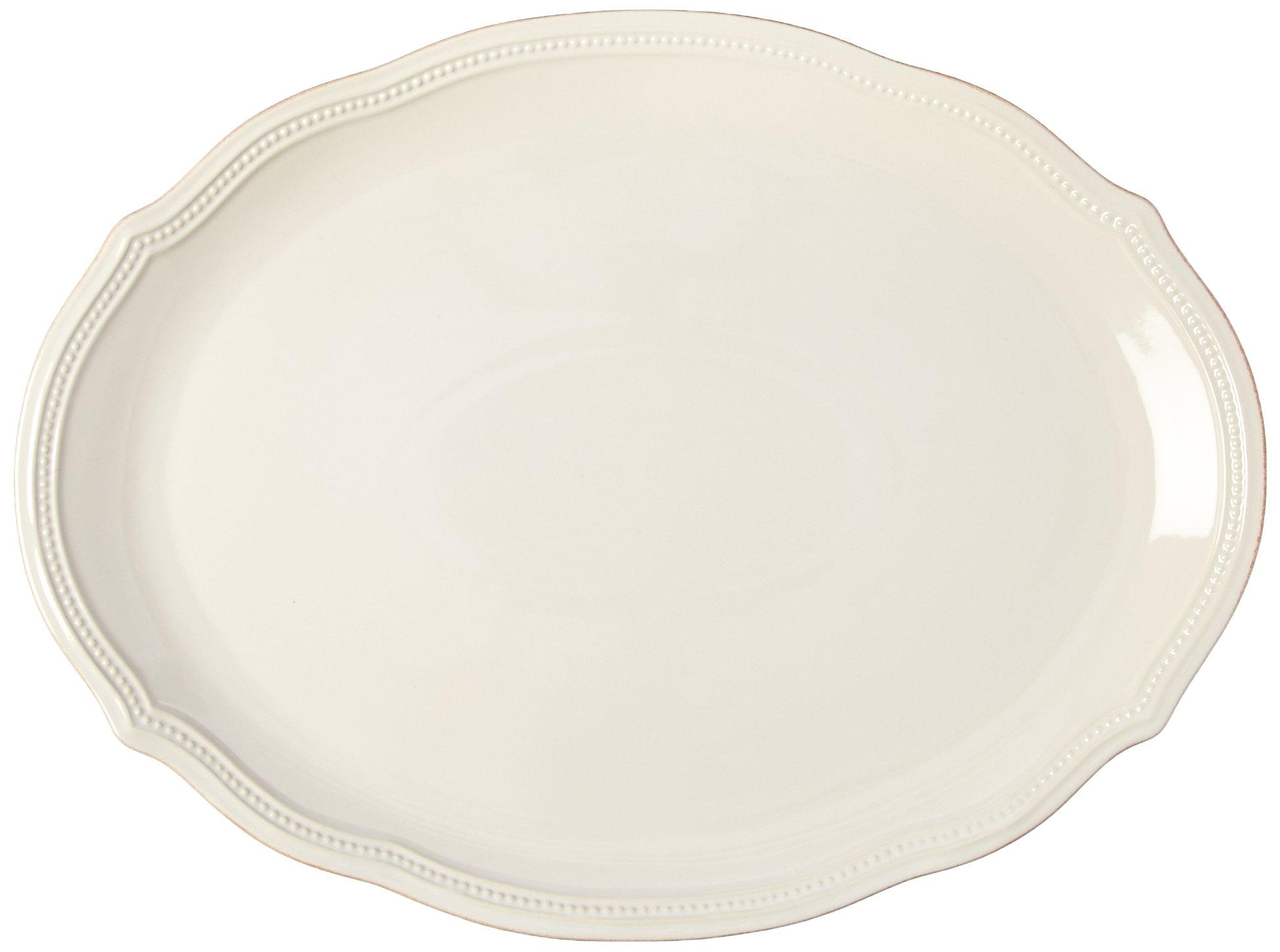 Lenox French Perle Bead Oval Platter, 16-Inch, White