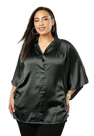 44e7131d0c2c5 Jessica London Women s Plus Size Satin Blouse at Amazon Women s Clothing  store