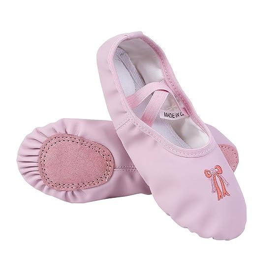 iiniim Zapatillas Ballet Clásico Cuero Bailarinas Niña Zapatos de Danza Baile Rosa/Albaricoque Talla 26-34 para Niñas Chicas Rosa 34: Amazon.es: Ropa y ...