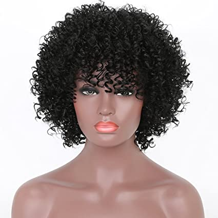 Pelucas cortas rizadas afro Kinky rizadas para mujeres negras resistentes al calor sintético Full Black pelucas