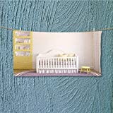 AmaPark Absorbent Towel Colorful Interior of Nursery Frontal View d Render Pictures in Frames Soft Cotton Durable L23.6 x W7.9 INCH